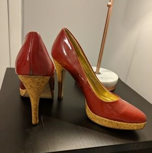 Red Patent Leather& Cork Heels